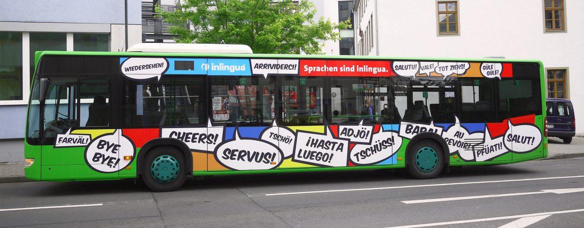 pharma werbung wegener inlingua sprachen kommunikation kampagne bus