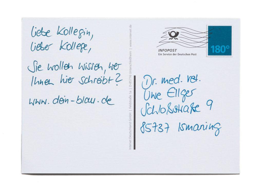 pharma werbung wegener msd tiergesundheit engemycin postkarte blau rind schaf rueckseite