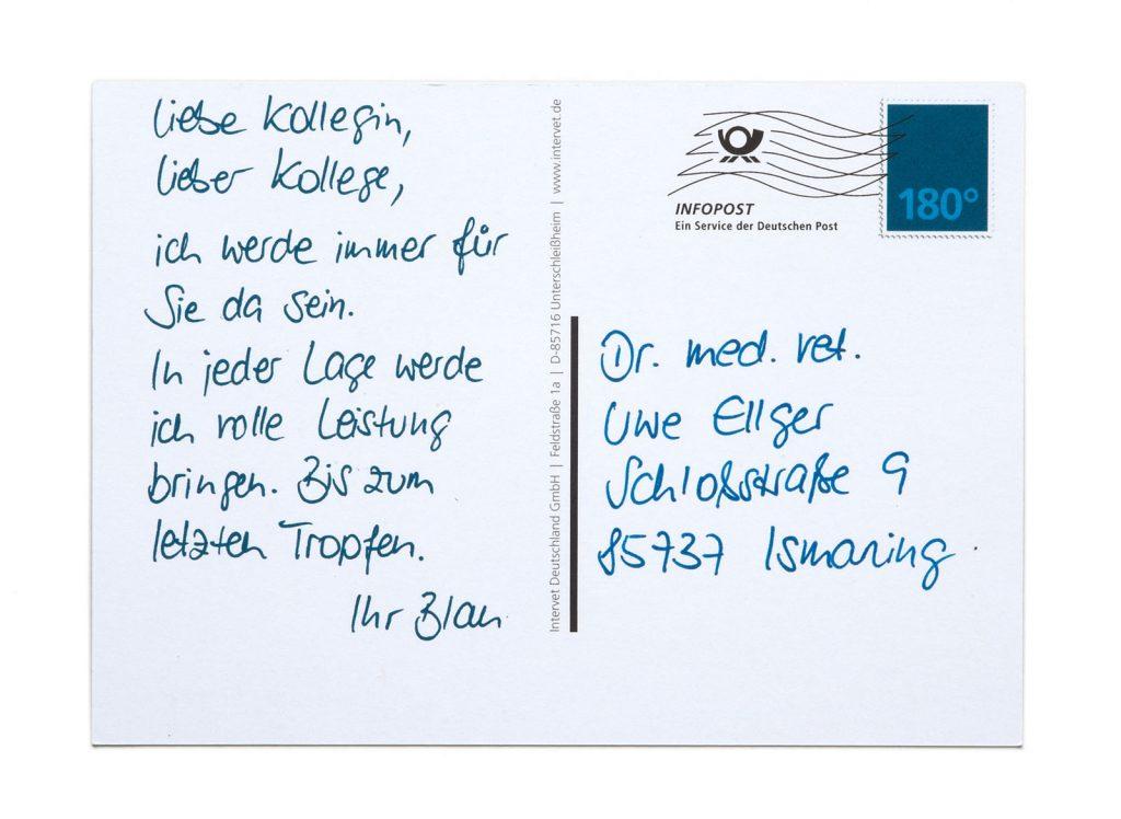 pharma werbung wegener msd tiergesundheit engemycin postkarte blau spray rueckseite